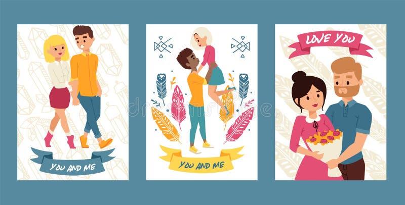 Het paar van jongeren die samen plaatste van kaarten, affiches vectorillustratie lopen U en me Liefde u Jongensholding royalty-vrije illustratie
