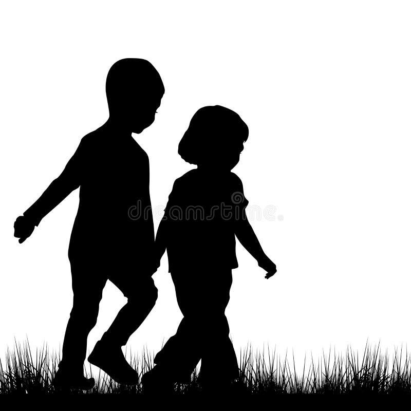 Het paar van kinderen silhouetteert openlucht royalty-vrije illustratie