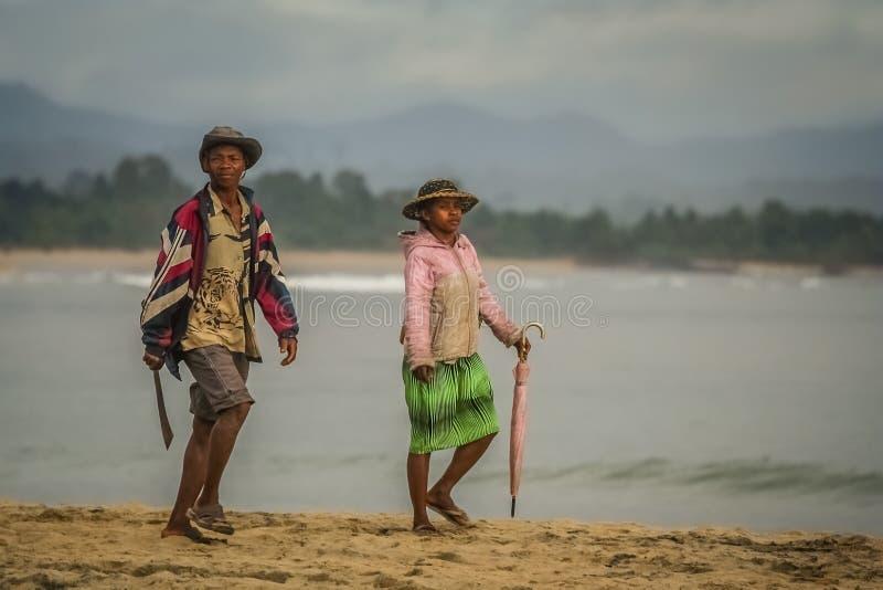 Het paar van Madagascar op het strand stock foto