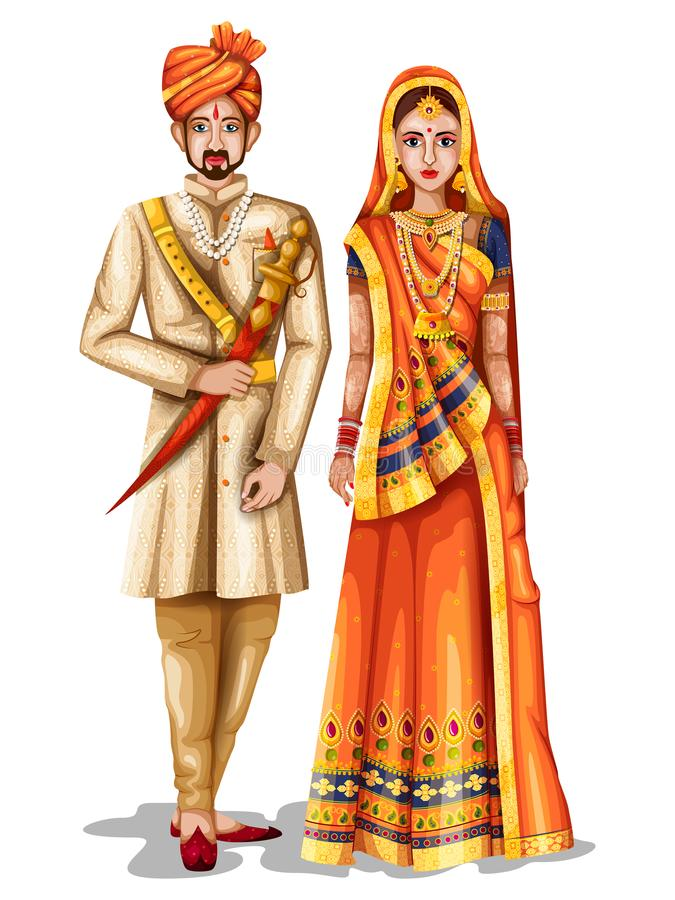 Het paar van het Rajasthanihuwelijk in traditioneel kostuum van Rajasthan, India vector illustratie