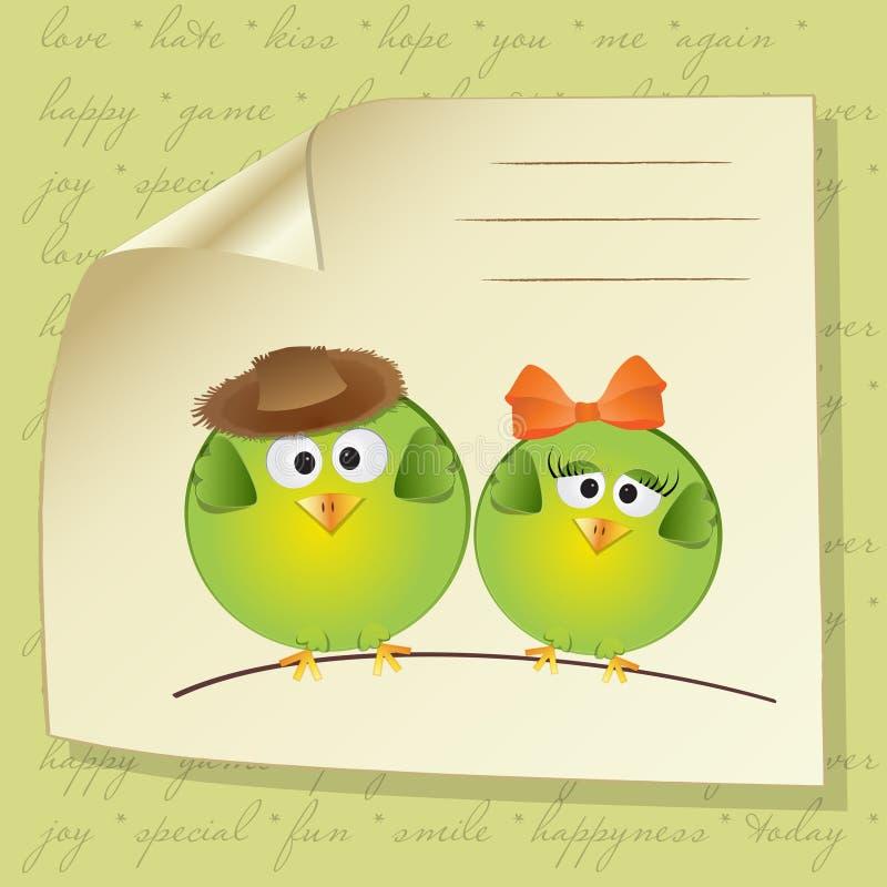 Het paar van vogels in liefde royalty-vrije illustratie