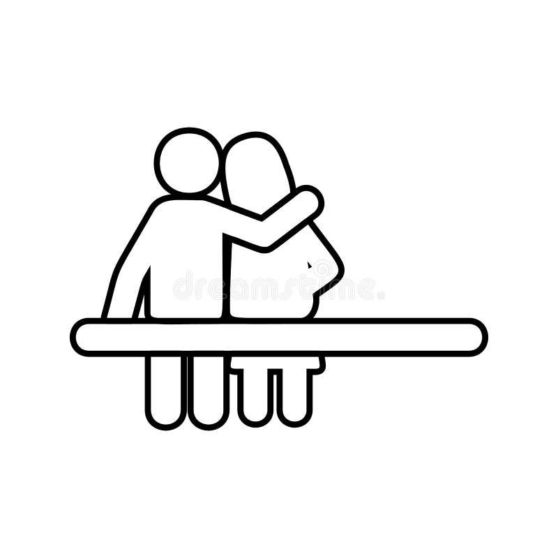 het paar zit op een bankpictogram Element van cyberveiligheid voor mobiel concept en webtoepassingenpictogram Dun lijnpictogram v stock illustratie