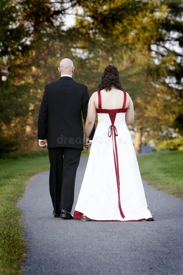 Het paarbruid en bruidegom van het huwelijk royalty-vrije stock afbeeldingen