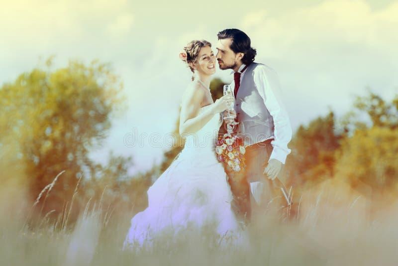 Het paarbruid en bruidegom van het huwelijk stock afbeeldingen