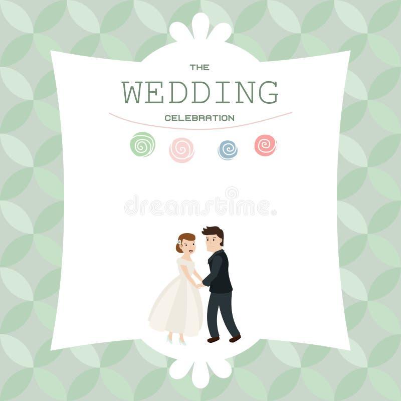 Het paarbruid en bruidegom van het huwelijk royalty-vrije illustratie