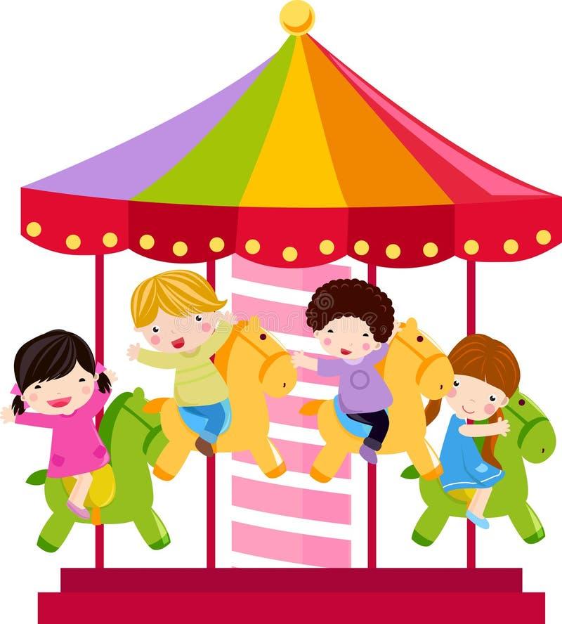Het paard en de kinderen van de carrousel royalty-vrije illustratie