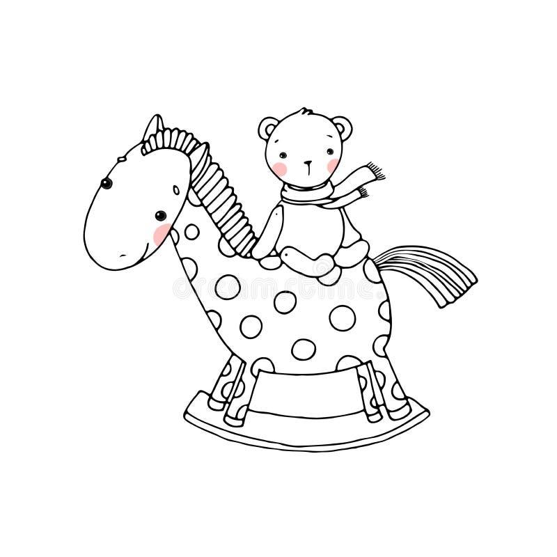 Het paard en draagt Jonge geitjesspeelgoed stock illustratie