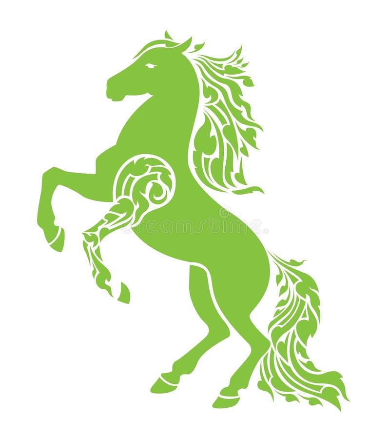 Het paard toont van kracht opgeheven voorbeen en weggevloeid vector illustratie