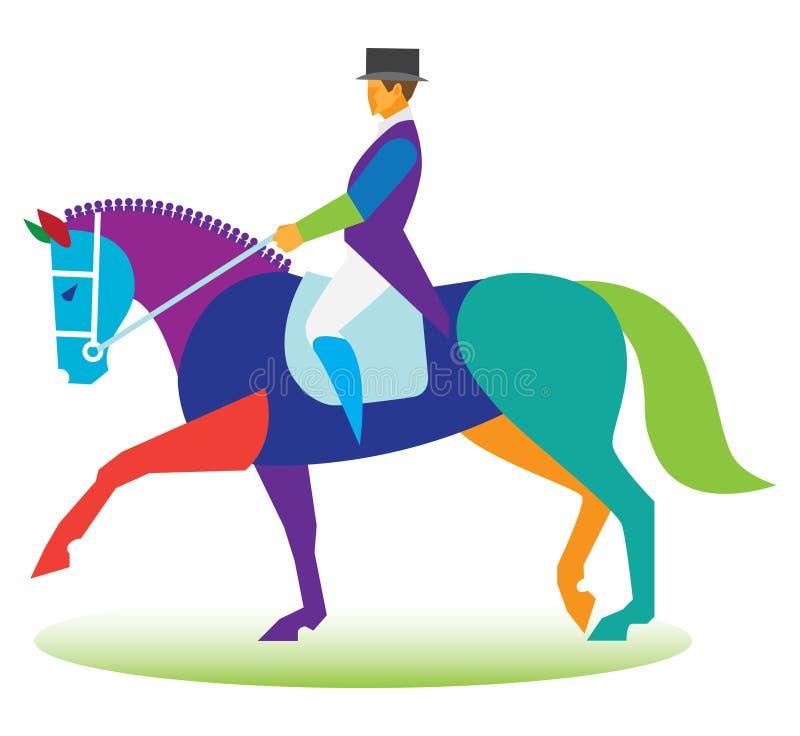 Het paard van de dressuur Ruiter het berijden een treinpaarden stock illustratie