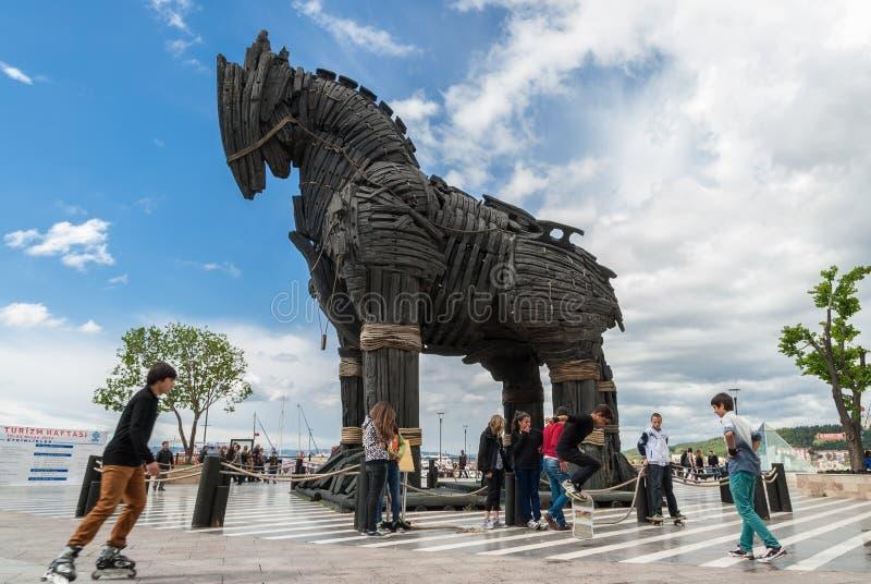 Het Paard van Troje in Turkije stock afbeelding