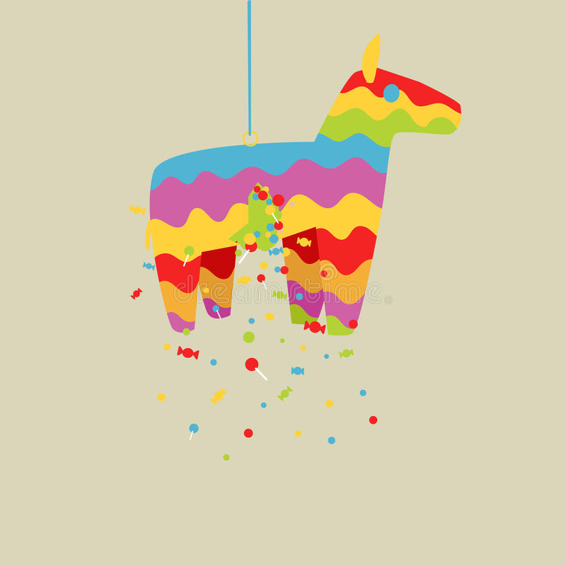 Het paard vectorillustratie van beeldverhaal kleurrijke pinata vector illustratie