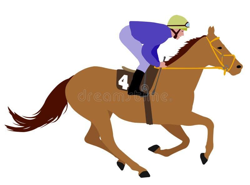 Het paardillustratie 3 van het jockey berijdende ras stock illustratie