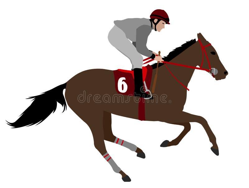 Het paardillustratie 4 van het jockey berijdende ras stock illustratie