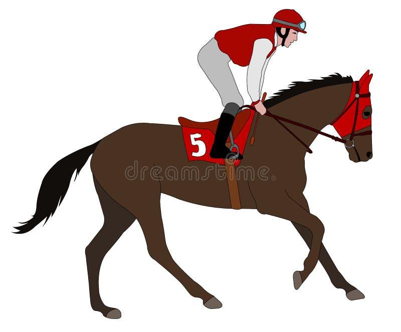 Het paardillustratie 5 van het jockey berijdende ras vector illustratie