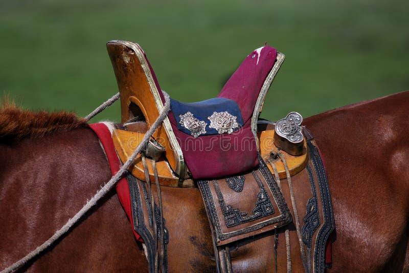 Het paardzadel van de nomade stock foto