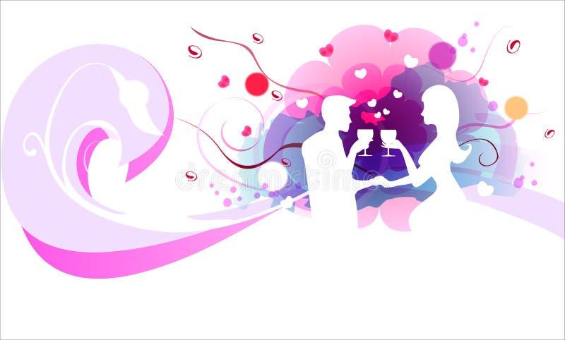Het paarliefde van de valentijnskaart vector illustratie