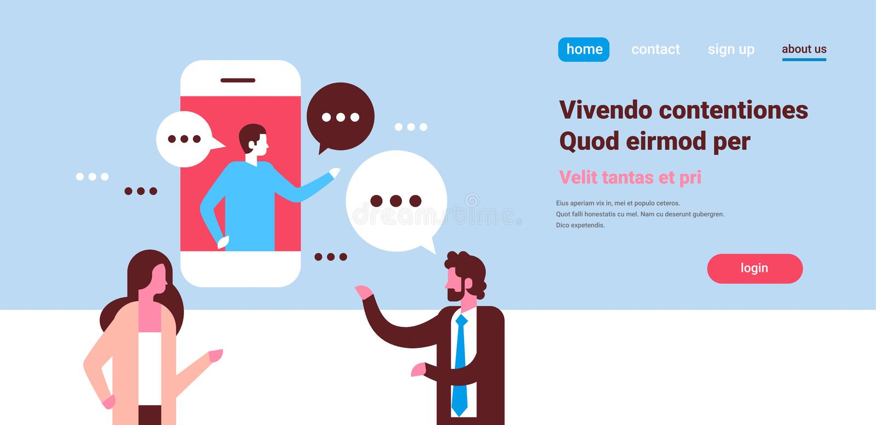 Het paarpraatje borrelt de mobiele toepassing het communiceren de man van de toespraakdialoog ruimte van het van het achtergrond  stock illustratie
