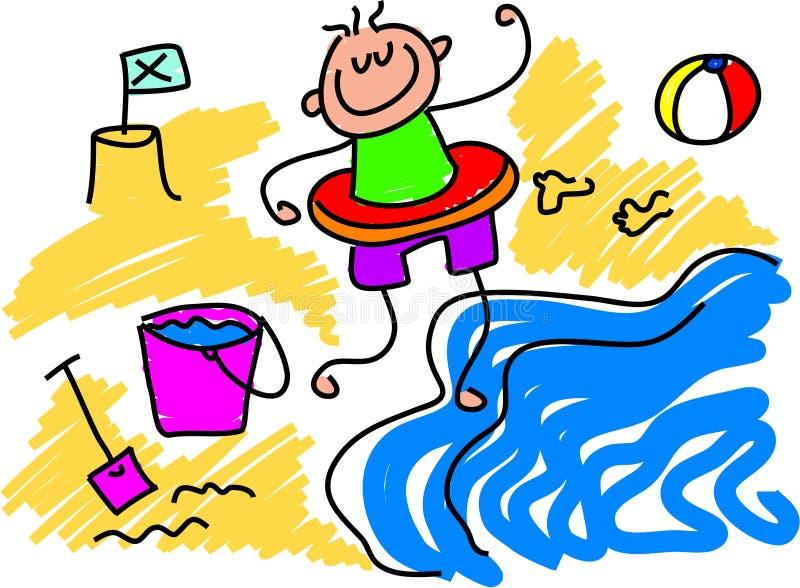 Het paddelen van het strand stock illustratie