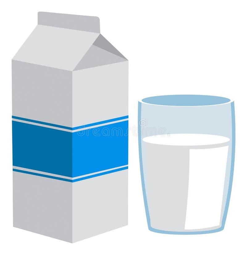 Het pak en het glas van de melk royalty-vrije illustratie