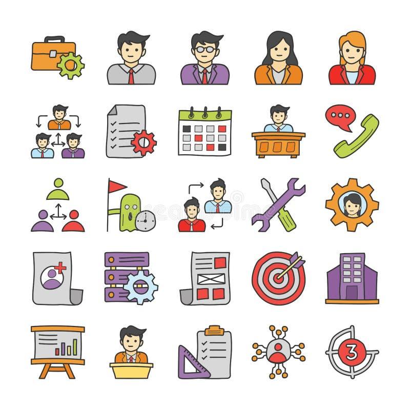 Het Pak van bedrijfskrabbelpictogrammen stock illustratie