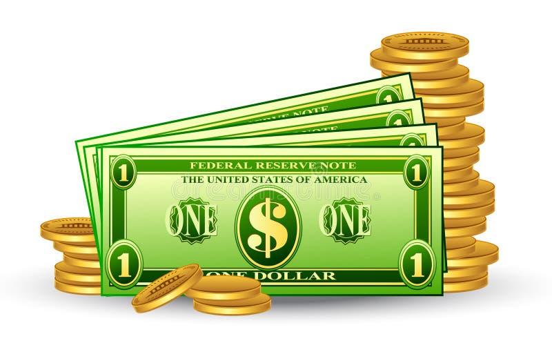 Het pak van de dollar met muntstukken stock illustratie