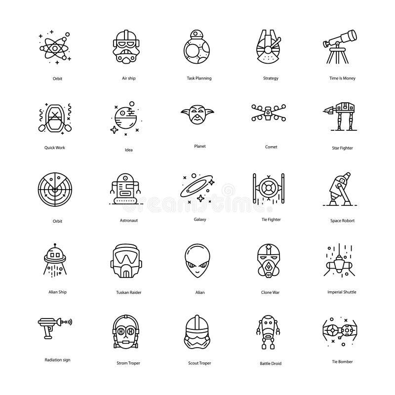 Het Pak van de Lijnpictogrammen van de steroorlog royalty-vrije illustratie