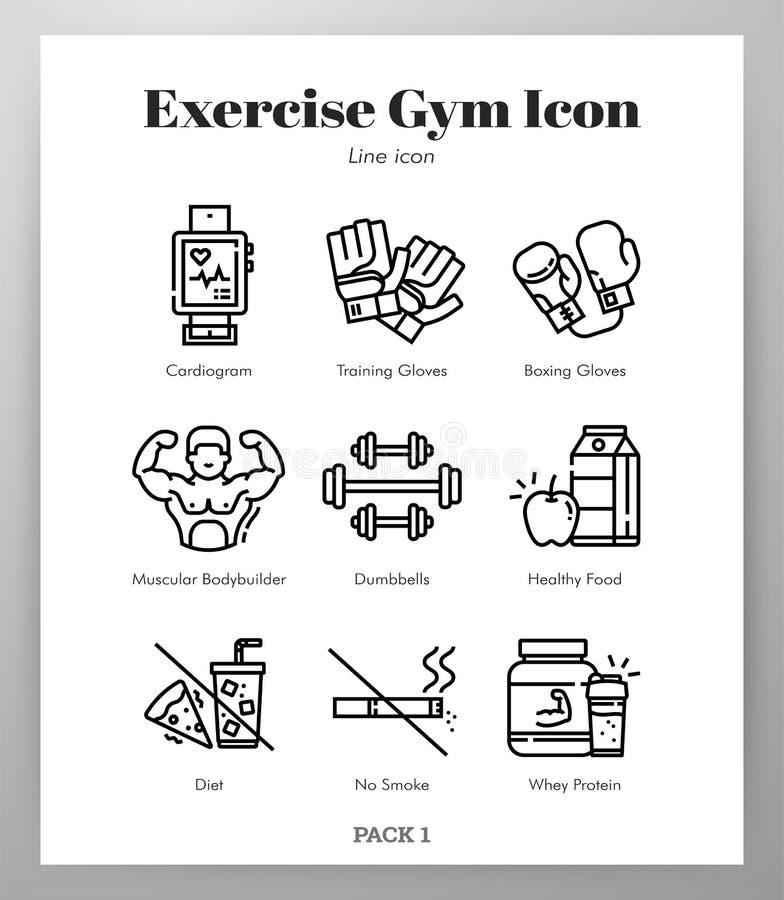 Het pak van de de pictogrammenlijn van de oefeningsgymnastiek vector illustratie