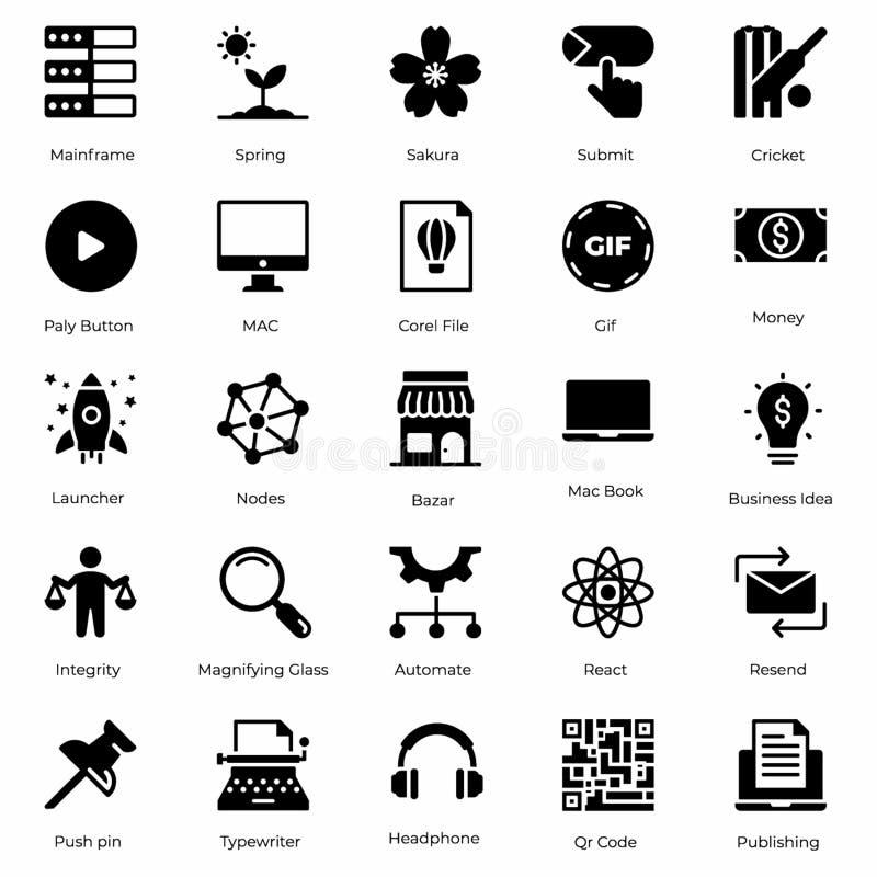 Het Pak van hardwarepictogrammen stock illustratie