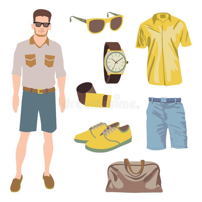 Het pak van het Hipsterkarakter voor geekjongen met toebehoren stock illustratie