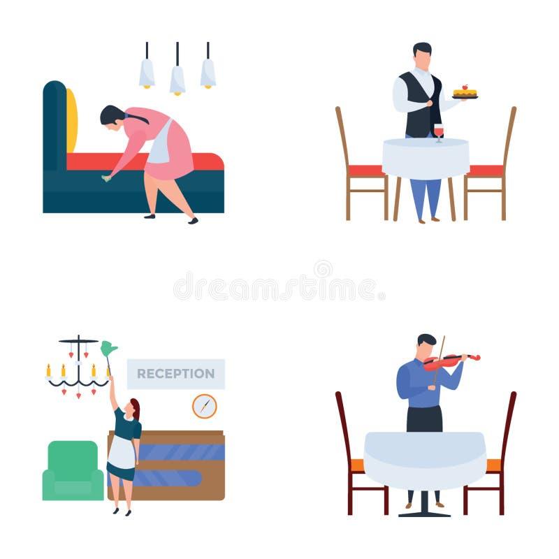 Het Pak van kelnersand cleaning icons royalty-vrije illustratie