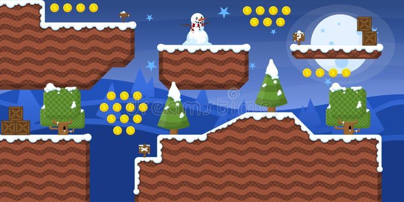 het Pak van Tileset van het de 2D Winterspel vector illustratie