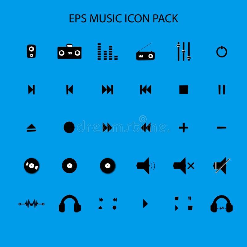 Het pak vlak pictogram van het muziek correct pictogram royalty-vrije stock afbeelding