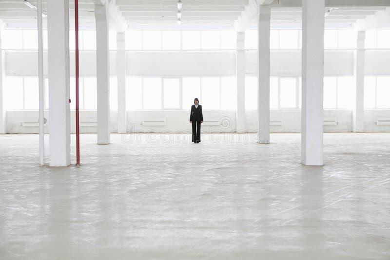 Het Pakhuis van onderneemsterstanding in empty stock foto's