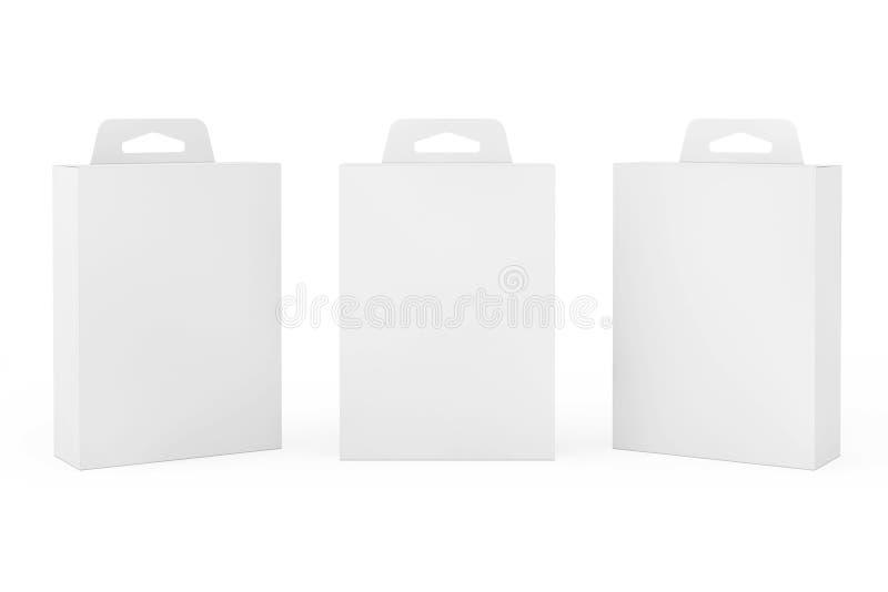 Het Pakketdoos van het model Witte Product met Hang Slot het 3d teruggeven vector illustratie