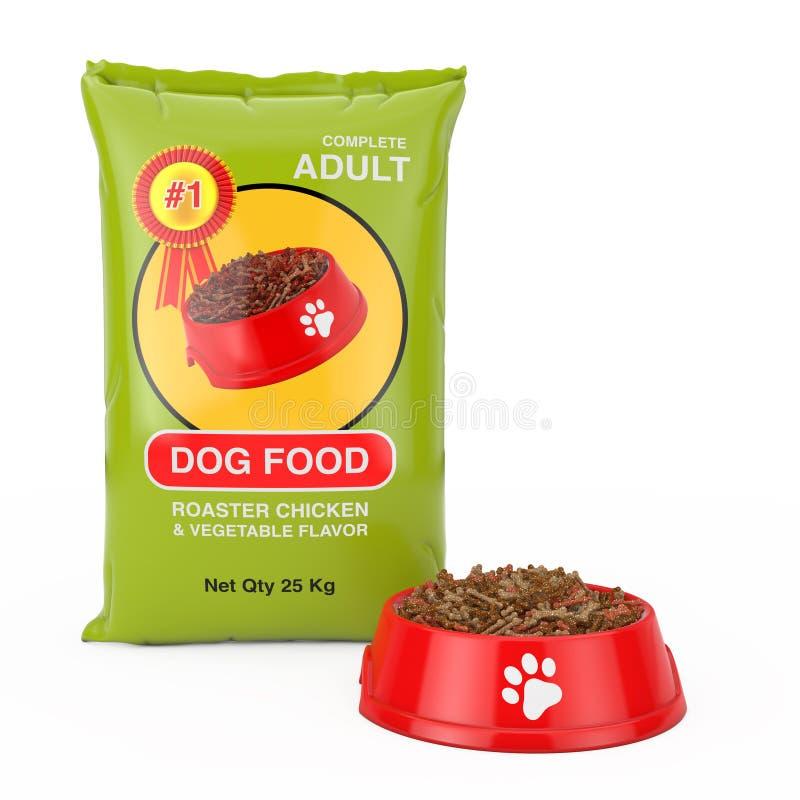 Het Pakketontwerp van de hondevoerzak dichtbij Rode Plastic Kom met Droog Voedsel voor Hond het 3d teruggeven vector illustratie