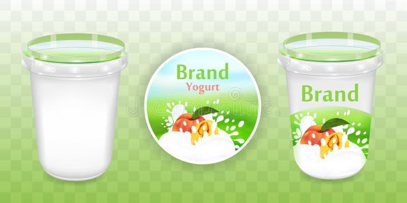 Het pakketontwerp van de perzikyoghurt, voedselcontainer in 3d illustratie op transparante achtergrond Realistisch verpakkend mod stock illustratie