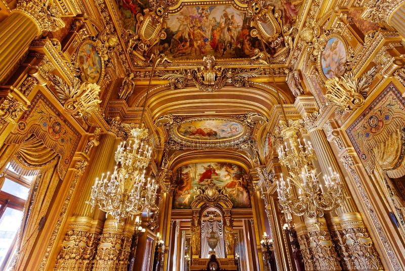 Het Palais Garnier, Opera van Parijs, binnenland en details royalty-vrije stock foto's