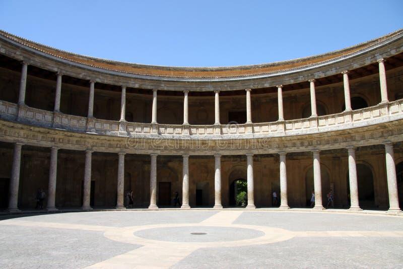 Het Paleis van Charles V in Alhambra, Granada, Andalusia, Spanje royalty-vrije stock foto's