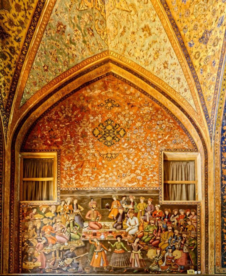 Het paleis van Chehelsotoun het schilderen stock fotografie