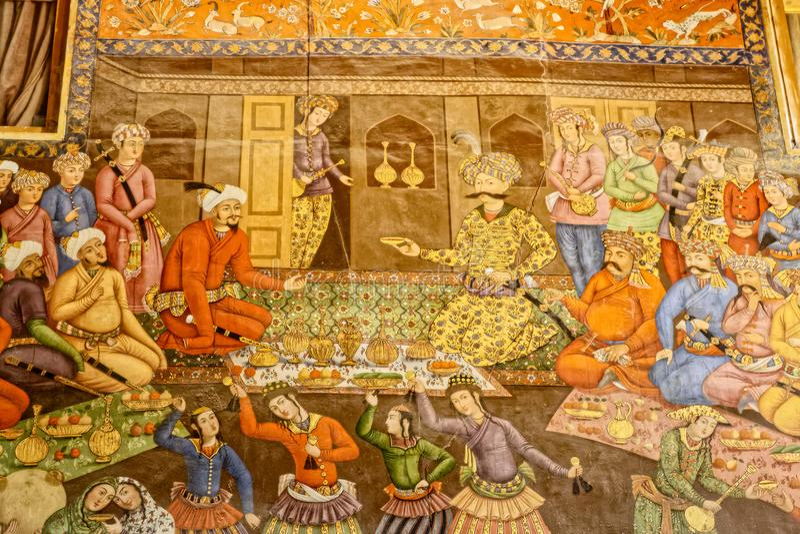 Het paleis van Chehelsotoun het schilderen royalty-vrije stock afbeeldingen