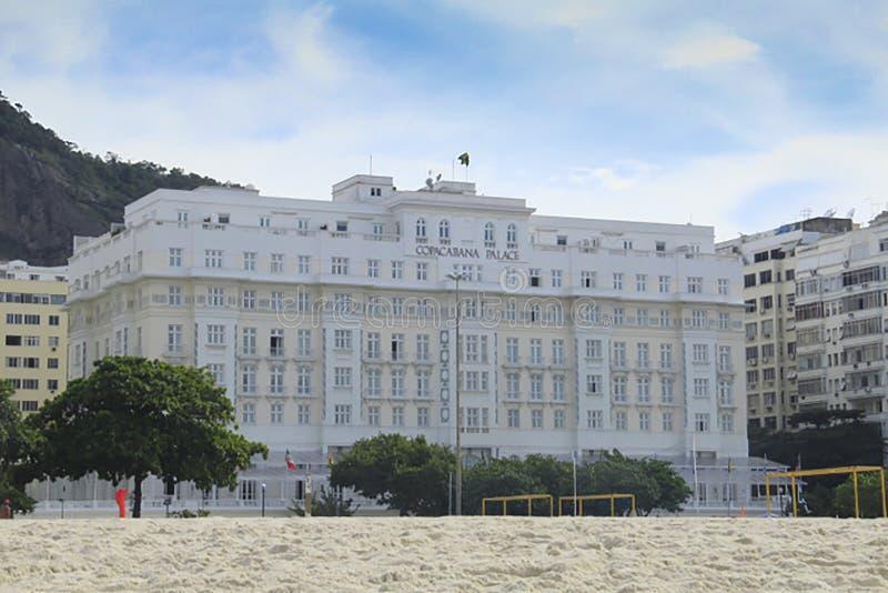 Het Paleis van Copacabana van het strandhotel, Rio de Janeiro, Brazilië stock foto's
