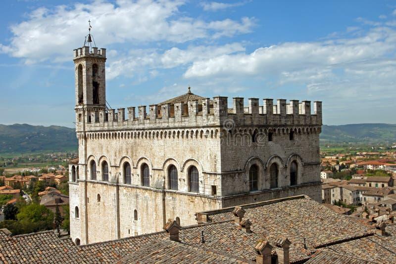 Het Paleis van de consul in het historische centrum van Gubbio stock afbeelding