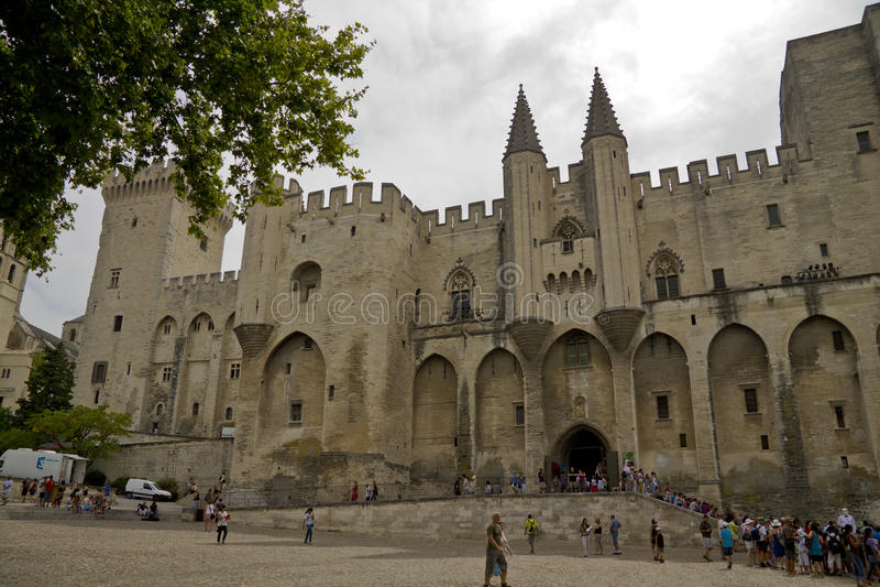Het paleis van de paus in Avignon stock foto