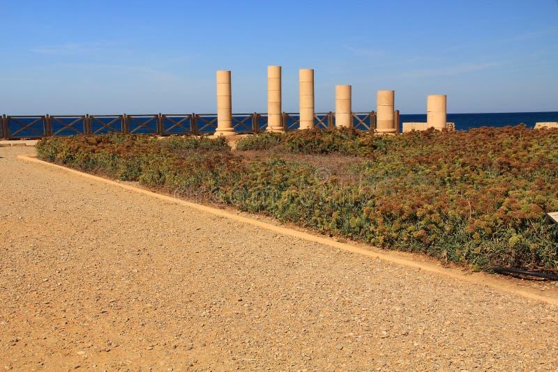 Het Paleis van het Herodsvoorgebergte in Caesarea Maritima Nationaal Park stock fotografie