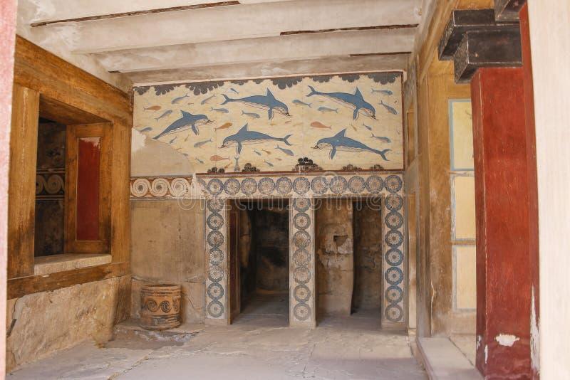 Het paleis van Knossos Detail van oude ruïnes van beroemd Minoan-paleis van Knosos Het eiland van Kreta, Griekenland royalty-vrije stock afbeelding