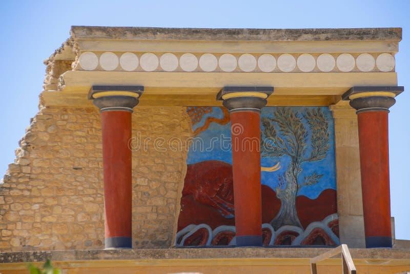 Het paleis van Knossos Detail van oude ruïnes van beroemd Minoan-paleis van Knosos Het eiland van Kreta, Griekenland stock afbeeldingen