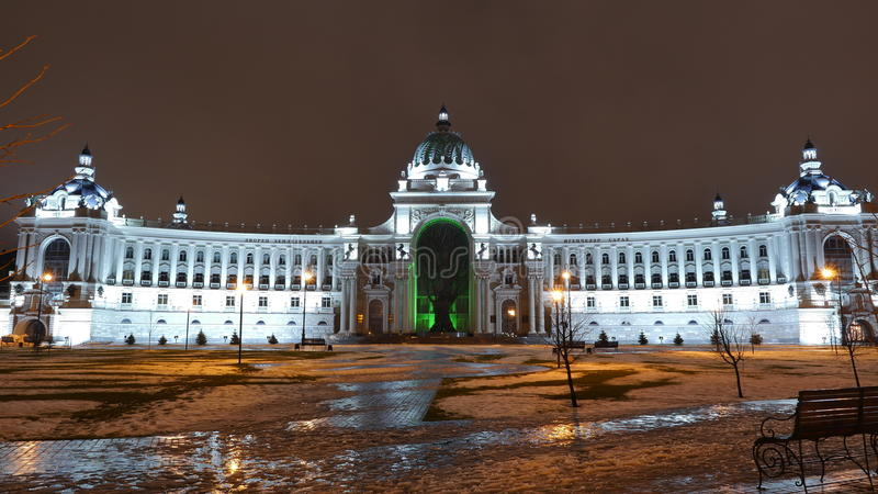 Het Paleis van Landbouwers, Kazan met een mening van de voorgevel stock fotografie