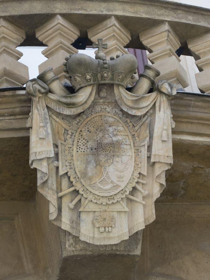 Het Paleis van Liechtenstein van het architectuurdetail, Praag stock foto's
