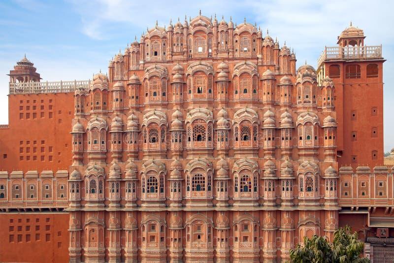 Het Paleis van Mahal- van Hawa van Winden. Jaipur, India. stock afbeeldingen