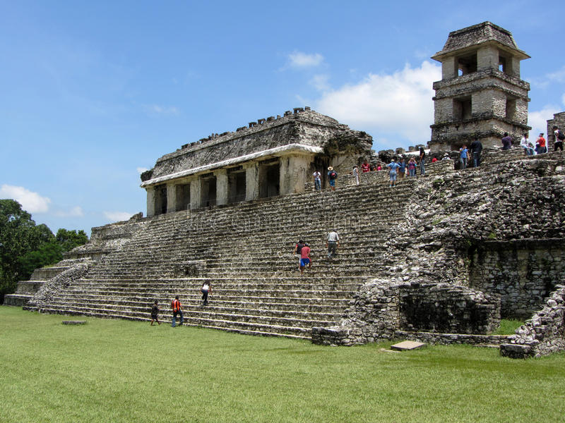 Het Paleis van Palenque in Chiapas stock foto